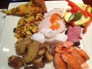 Pizza, corn, pork loian, vegetables, cod, russet potatoes and salmon.