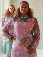 Pastel Printed Silk Chiffon Maxi Dress