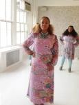 Pastel Printed Silk Chiffon Maxi Dress, Pastel Printed Tunic s/Sage leggings