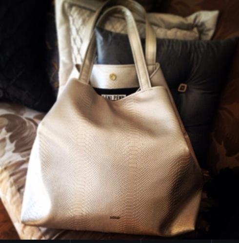 Metallic Silver Python Leni Penn Tote Bag